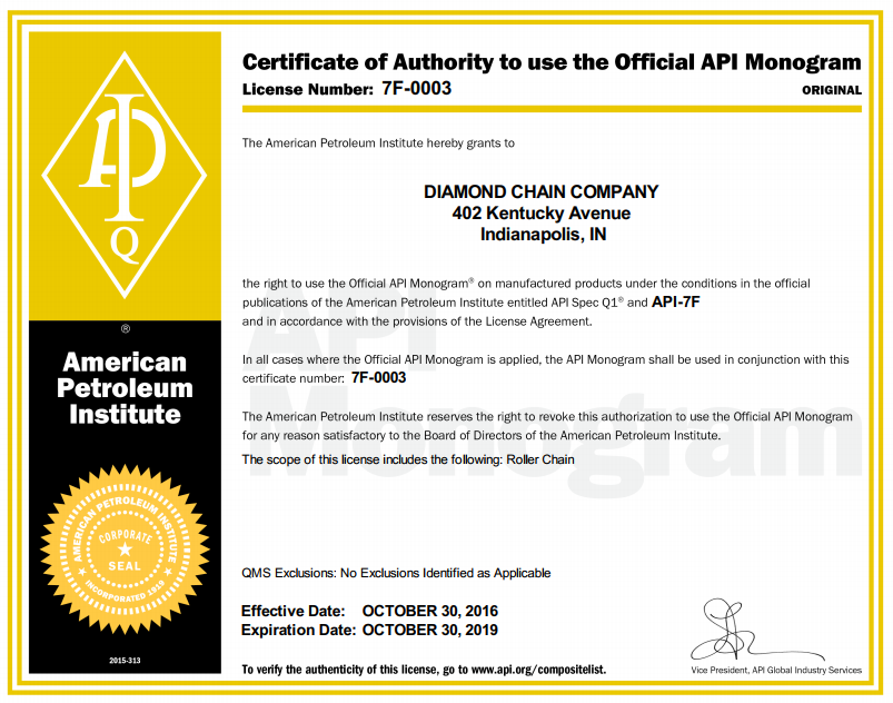 Certifications The Diamond Chain Company